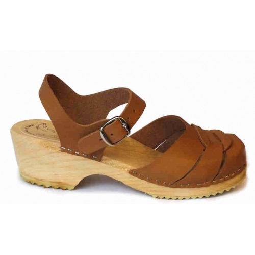 Swedish Low Heel Clog Sandals Brown | Clogs for Women | Wooden Clogs | Brown Mules | Brown Sandals | Maguba Clogs | Florence Light Brown